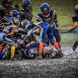 Muddy Youth Football by Angela Sweeney Sellards - Sports & Fitness American and Canadian football ( mud youth fooball,  )