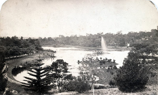 Elevated view of the Royal Botanic Gardens, c.1870