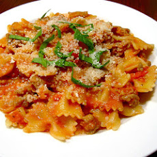 Farfalle with Sausage, Tomatoes, and Cream