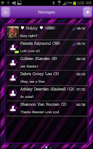 GO SMS - Purple Stripes 5
