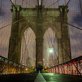 Brooklyn Bridge by Christian Heynert - Buildings & Architecture Bridges & Suspended Structures ( brooklyn bridge, suspension, manhattan, night, cityscape, bridge, nyc, new york, usa )