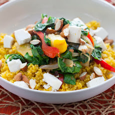Saffron Bulgur Pilaf with Early Fall Vegetables