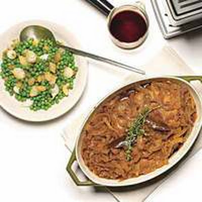 Espresso-Braised Brisket with Peas and Onions