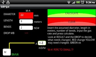 Screenshot of GB Gas Pipe Sizing Calculator