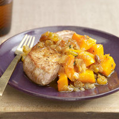 Apple Juice Pork with Squash and Golden Raisins