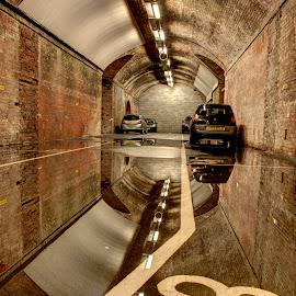 Car Park reflections by Dave Reynolds - City,  Street & Park  Street Scenes ( #leeds, #carparks, #street, #reflections )