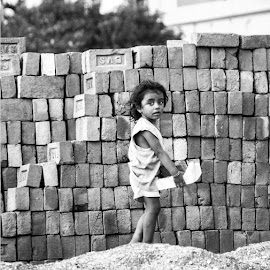 Childhood in a Brick field by Joydip Chakraborti - Babies & Children Children Candids ( child, potrait, brick, innocence, working, small,  )
