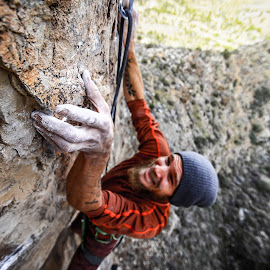 climbing at the grail by Ryan Skeers - Sports & Fitness Climbing ( climbing, the grail, crux, sport climbing, nevada, clipping bolts )