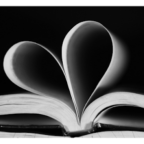 love book by Baidyanath Arya - Black & White Abstract ( love, heart, book )