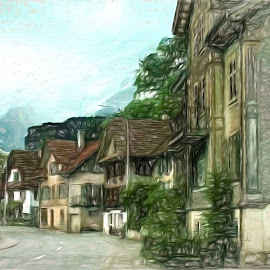 In the Alps by Dennis Granzow - Digital Art Places ( alps mountains, europe, switzerland, lucern, travel )