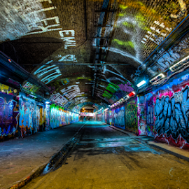 Bansky Tunnel by Michael Payne - City,  Street & Park  Street Scenes ( graffiti, bansky tunnel, leake street,  )