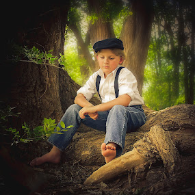 Daydreams by Lana Tolle - Babies & Children Child Portraits ( fantasy, child, cap, denim, child photography, forest, woods, boy, portrait,  )