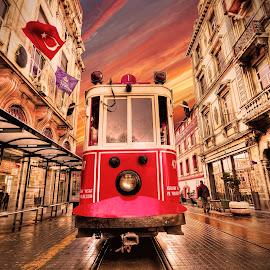 red tram by Murat Kasım - City,  Street & Park  Street Scenes