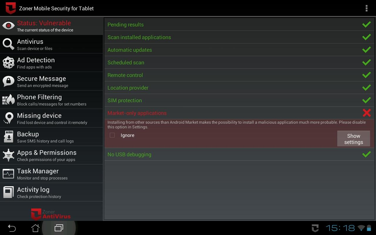 Zoner Mobile Security - Tablet Screenshot 1
