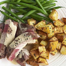 Beef With Peppercorn Sauce & Sauté Potatoes