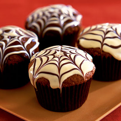 Spider Web Chocolate Fudge Muffins
