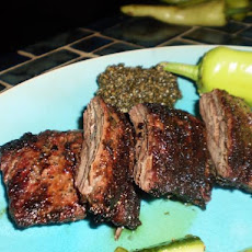 Skirt Steak With Red Chile Cilantro Chimichurri