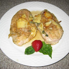 Baked Garlic, Basil and Camembert Stuffed Chicken Breasts