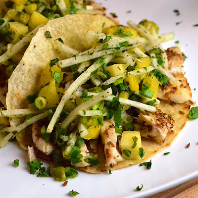 Fish Tacos with Pineapple Jicama Slaw