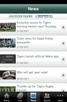 Screenshot of Official Leicester Tigers