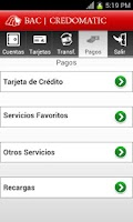 Screenshot of Mobile Banking BAC Credomatic