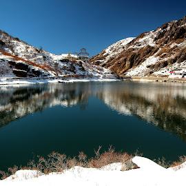 Changu Lake by Soubir Paul - Landscapes Waterscapes ( hills, changu lake, snow, lake, soubir,  )