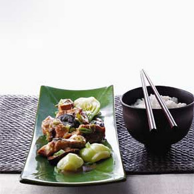 Steamed Chicken with Black Mushrooms and Bok Choy