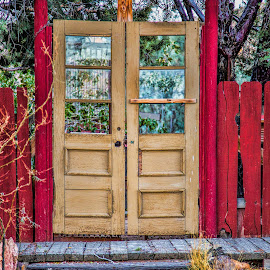 Doors to a Garden by Janet Aguila Krause - Artistic Objects Antiques ( red fence, desert, pioneertown, yucca valley, antique french doors )