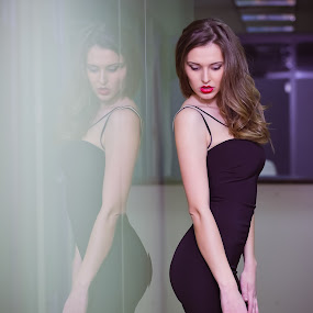 Senzual reflection by Costi Manolache - People Fashion ( fotoevent88, reflection, sexy, balck dress, blonde hair, red lips, lady, fashion, urban portrait, urban fashion, unique outfit )