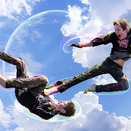 Flying kick by Angelica Glen - Digital Art People ( flying, kick, hero, fight, boy,  )