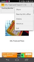 Screenshot of DHL Track &Trace(Not Official)