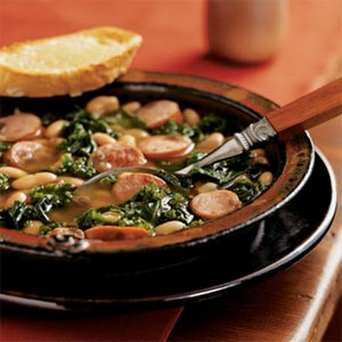Cannellini Stew with Sausage and Kale and Cheese Toasts