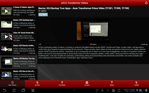 Nexus 7 and Transformer Videos