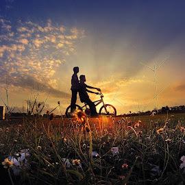 bonceng buri by Indra Prihantoro - Transportation Bicycles ( sunset, bicycle )