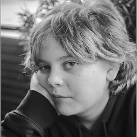moody teen by Sandy Crowe - Babies & Children Child Portraits ( amature, black and white, moody, son, portrait,  )