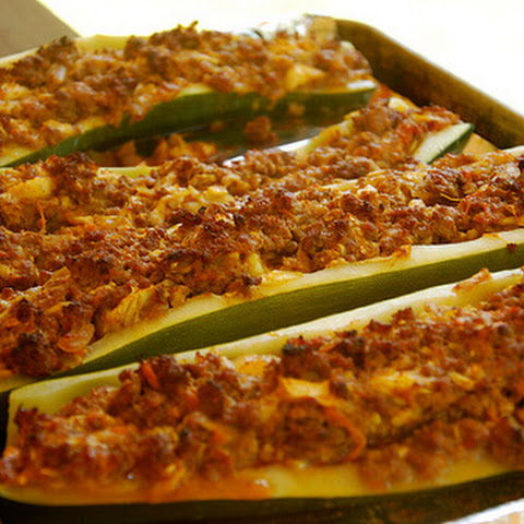 Stuffed Zucchini Recipe With Brown Rice, Ground Beef, Red Pepper, And ...