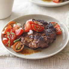 Buffalo Burgers with Tomato and Marjoram Topping