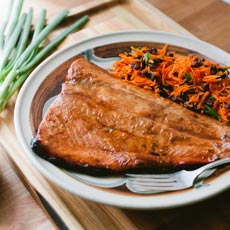 Ginger Honey Glazed Grilled Salmon with Carrot and Miso Slaw