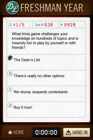 Dean's List Trivia Game