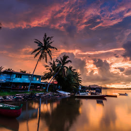 Empty Boats by Eric Tai - Transportation Boats ( clouds, blue hour, sunset, landscape, longexposure, river,  )