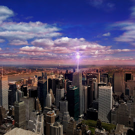 NYC Sky by Tricia Scott - City,  Street & Park  Skylines ( clouds, skyline, skybar, outdoor, metropolitian, cityscape, new york, nyc, shi, outside, observation deck, city,  )