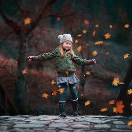 by Силвия Георгиева - Babies & Children Children Candids ( canon, girl, outdoor, automn leaves, bridge, aurumn, portrait )