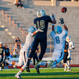 PI by Kevin Mummau - Sports & Fitness American and Canadian football ( reciever, football, catch, laying out, leap, pass )