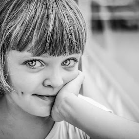 by Nathalie Gemy - Black & White Portraits & People ( girl, black and white, kid portrait )
