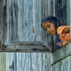Girl at the window by Citra Hernadi - Babies & Children Children Candids