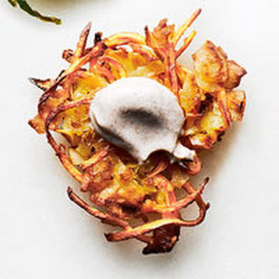 Sweet Potato Latkes with Cinnamon Sour Cream