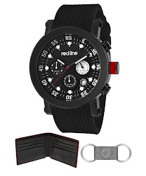 Red Line Men's Compressor Chronograph Black Dial Black IP Case Black Silicone RL-18101VD-01-BBWSET Watch
