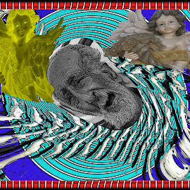 Old by Joerg Schlagheck - Digital Art Abstract ( old, spinning, blue, cash, money, beard, weak, angels, fire, broke )
