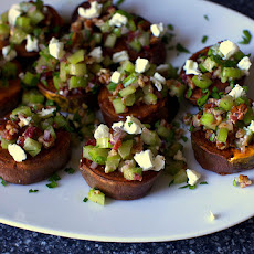 Sweet Potatoes with Pecans, Goat Cheese and Celery [a.k.a. Roasted Marshmallow-y Sweet Potatoes with Thanksgiving on Top]