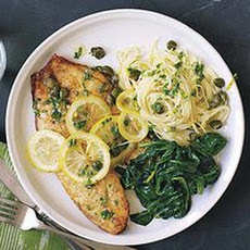 Piccata-Style Fish Fillets with Thin Pasta and Wilted Spinach